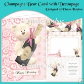 Champagne Bear Card with Decoupage