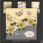 Vintage Stripes and Flowers Card Kit yellow 1122
