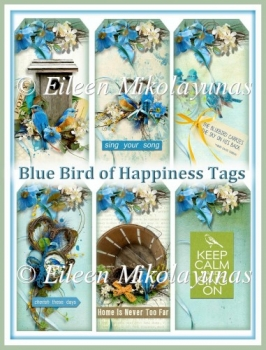 Bluebird of Happiness Cottage Chic Nature Tags