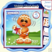 BIRTHDAY GINGERBREAD MAN WOBBLY HEAD CARD 7.5 Decoupage & Insert