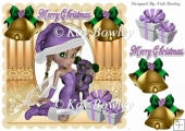 santas little faerie in purple with christmas presents 8x8