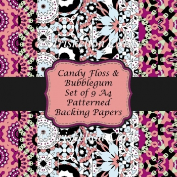Candy Floss and Bubblegum Set of 9 A4 Abstract Patterned Papers