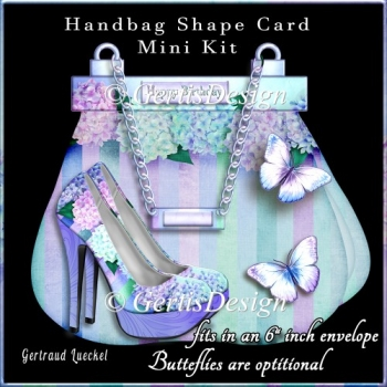 A Day Out Handbag Shoe Shape Card blue