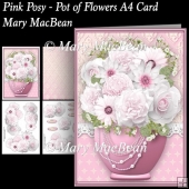 Pink Posy - Pot of Flowers A4 Card