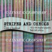 STRIPES AND CHECKS - by LYNNE K CRAWSHAW digital paper pack