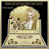 Blonde Girl with Ivory Roses 8 x 8 Easel Card Kit