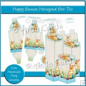 Happy Bunnies Hexagonal Box Trio