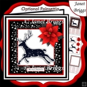 STARRY REINDEER & POINSETTIA Christmas Birthday 7.5 Quick Card