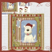 Christmas dog with his santa hat card and decoupage