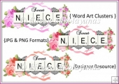 Commercial Use Sweet Niece Word Art Clusters