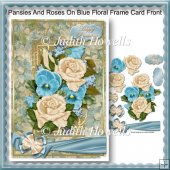 Pansies And Roses On Blue Floral Frame Card Front