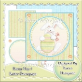 Bunny Hop 1 Easter Decoupage Topper