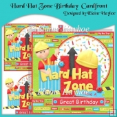 Hard Hat Zone Birthday Cardfront with Decoupage