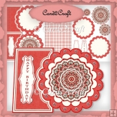 Red daisy mandala card