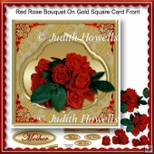 Red Rose Bouquet On Gold Square Card Front