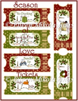 Season of Love Tickets for Cards, Tags, Crafts