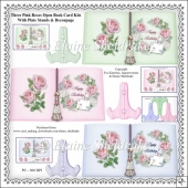 Three Pink Roses Open Book Card Kits = Plate Stands & Decoupage