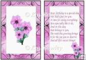 pretty pink flowers in scroll frame A5 Insert