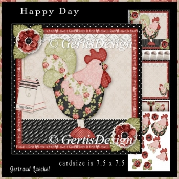 Happy Day Rooster Topper Cardkit red