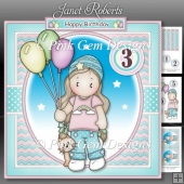 Chloe with Balloons Mini Kit with Optional Age Badges 1 to 6 yrs