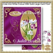 Lilac And White Crocus With Gold Large Card Front