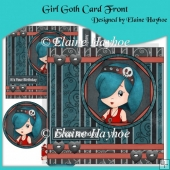 Girl Goth Card Front with Decoupage