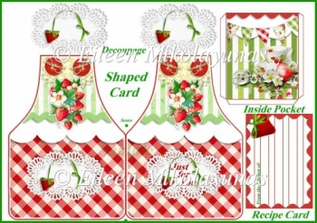Strawberry Apron Shaped Greeting Card with Inside Pocket