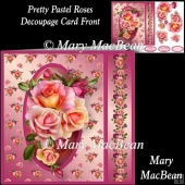 Pretty Pastel Roses Decoupage Card Front