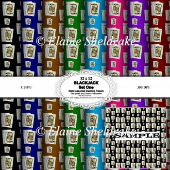 Blackjack - Winning Hand - Set One - 12 x 12 Backing Papers