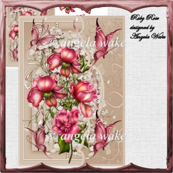 Ruby rose card front with decoupage