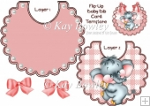 cute ele on gingham bib with pearls and bow