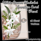 White Cream Gladiolus Envelope Card Front