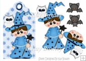Little wizard with little white owl & bat on a tag