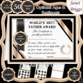 WORLD'S BEST FATHER Humorous A5 Certificate & Ages Card Kit