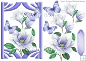 pretty purple magnolias with butterflies A5