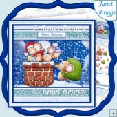 ROOFTOP SANTA MICE 8x8 Christmas Decoupage & Insert Kit