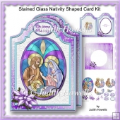Stained Glass Nativity Shaped Card Kit