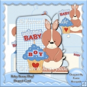 Baby Bunny (Boy) Shaped Card