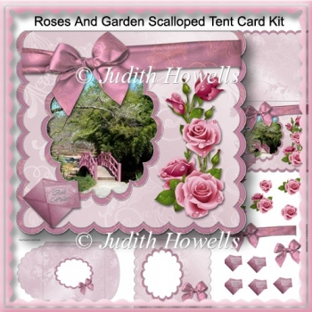 Roses And Garden Scalloped Tent Card Kit