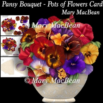 Pansy Bouquet - Pots of Flowers Card
