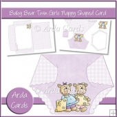 Baby Bear Twin Girls Nappy Shaped Card