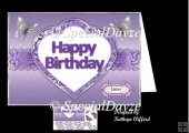 Happy birthday in heart purple