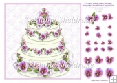 "Pansy Wedding Cake With Decoupage - 8"" x 8"" Card Topper"