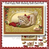 Cute Puppy With Stocking Gold Card Front