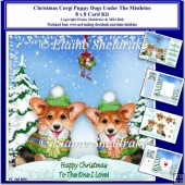 8x8 Christmas Corgi Puppy Dogs Under The Mistletoe Card Kit
