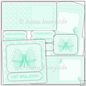 Butterfly Mint Square Card Kit