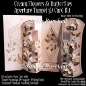 Cream Flowers & Butterflies Aperture Tunnel 3D Card Kit