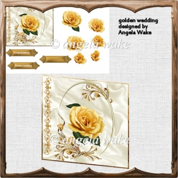 Golden wedding card with decoupage