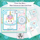 I Love You More Than Unicorns and Cake Card Front & Insert -Blue