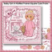 Baby Girl In Ruffled Frame Square Card Front